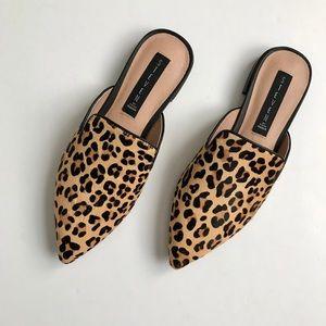 Steven by Steve Madden leopard calf hair slides